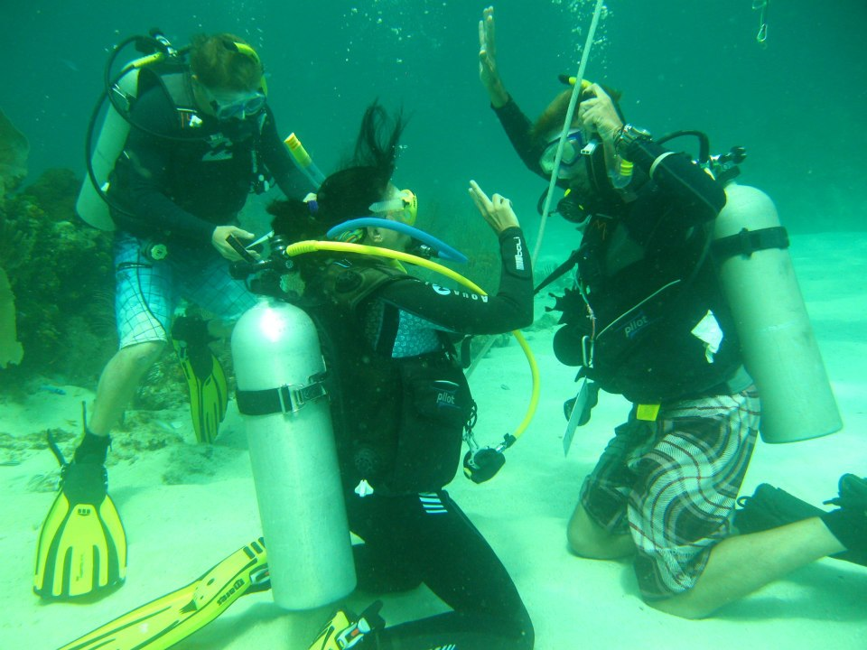 Simon teaching scuba